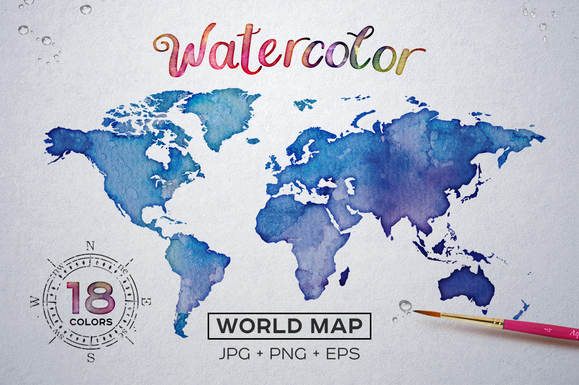 Watercolor world maps jpgepspng graphic spirit view gumiabroncs Gallery